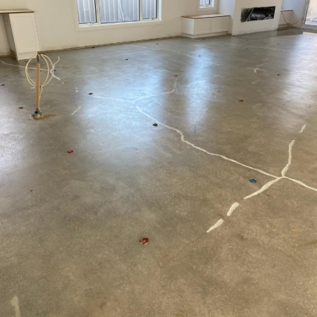 Polished concrete after grinding